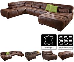 Cavadore-Wohnlandschaft-Scoutano,-XXL-Sofalandschaft-in-U-Form-im-Industrial-Design,-363-x-76-x-227-cm,-Lederoptik-braun